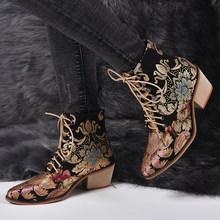 2020New ฤดูใบไม้ร่วง Retro ผู้หญิงเย็บปักถักร้อยดอกไม้สั้น Lady Elegant Lace Up รองเท้าข้อ(China)