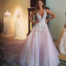 Alagirls простое свадебное платье 2020 с v-образным вырезом без рукавов Кружевное Свадебное платье в богемном стиле на заказ ТРАПЕЦИЕВИДНОЕ сваде...(China)