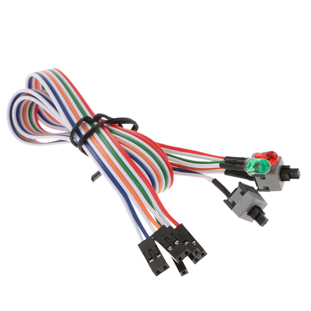 Desktop ATX Power On Reset 2x Switch Cable With HDD LED Light Mining ETH BTC