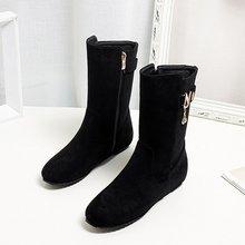 EGONERY 2019 kış yeni orta buzağı çizmeler dışında rahat orta topuklu yuvarlak ayak zip akın kadın ayakkabı damla nakliye boyutu 32-43(China)