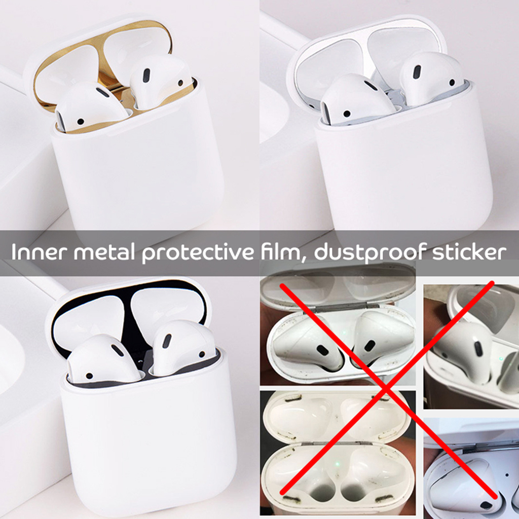 Metal Dust Guard Protective Sticker for Skin Protective Sticker for Apple Earphone Case Cover Shell Skin