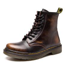 QUANZIXUAN hakiki deri kadın botları Dr yarım çizmeler kış iş Safeti çizmeler katı yarım çizmeler kadın Punk kadın ayakkabı boyutu 46(China)