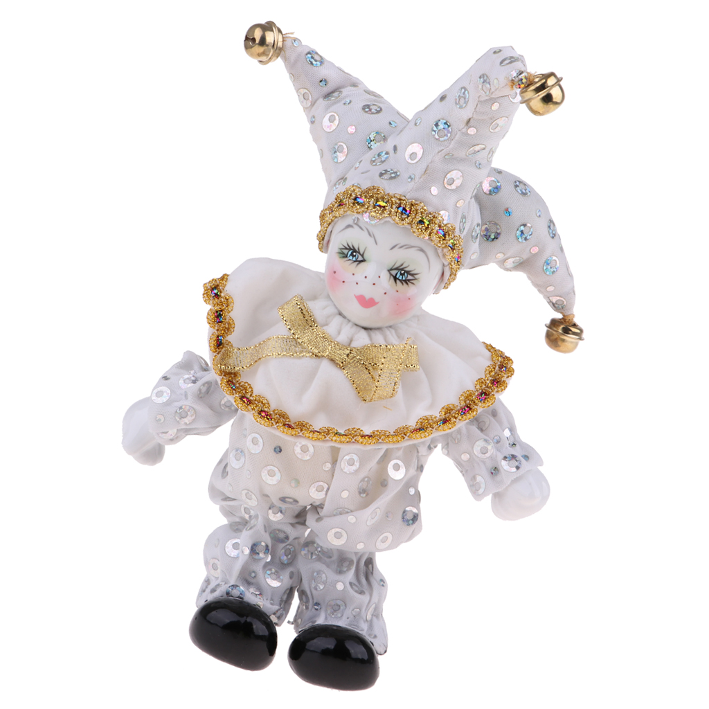8inch Victorian Porcelain Doll Standing Ceramics Eros Dolls Clown Doll Toys Baby Wishing Doll Ornament Kids Birthday Gift White