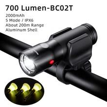 ROCKBROS vélo lumière étanche à la pluie LED rechargeable par usb 2000mAh vtt avant lampe phare en aluminium ultraléger lampe de poche vélo lumière(China)