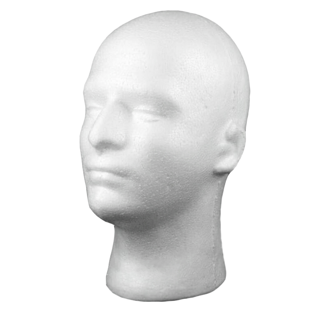 Male Foam Mannequin Head Model Hat Wig Show Display Stand Rack Holder White