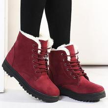 Stivali invernali scarpe da donna 2019 stivali da neve tacchi alti delle donne del merletto up flock delle donne della caviglia stivali di pelliccia caldo della peluche di inverno Soletta scarpe da donna(China)