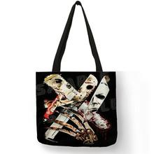 B01105 famoso filme charcter muders assassinos impressão saco de compras bolsas masculinas bolsas dia das bruxas jason mayer impresso sacos de ombro(China)