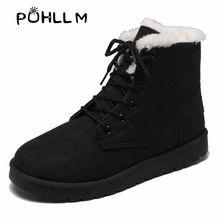 PUHLLM Mới Mùa Đông Cổ Chân Giày Ấm nữ Ủng Giày Lót Sang Trọng Ngắn Nữ Vải Cotton Trắng Đen Giày f37(China)