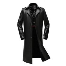 Nuevo abrigo largo de cuero para hombre, una cartera de PU, un impermeable, una cartera de hombre(China)