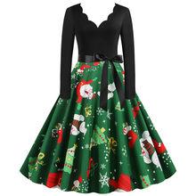 ירוק גדול נדנדה הדפסת בציר חג המולד שמלת חלוק נשים החורף מזדמן ארוך שרוול V צוואר סקסי חדש שנה מסיבת שמלה בתוספת גודל(China)