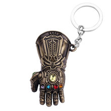 Marvel The Avengers Keychain Thor's Hammer Thanos Gauntlet Key Chain Captain America Shield Hulk Batman Mask Key Ring Wholesale(China)