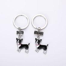 Keychain do Carro Do Cão Chihuahua Animal Chaveiros DIY Titular da Chave Chave Anéis DIY Metal Encantos Bolsa Cães Pingente Melhores Amigos presente(China)