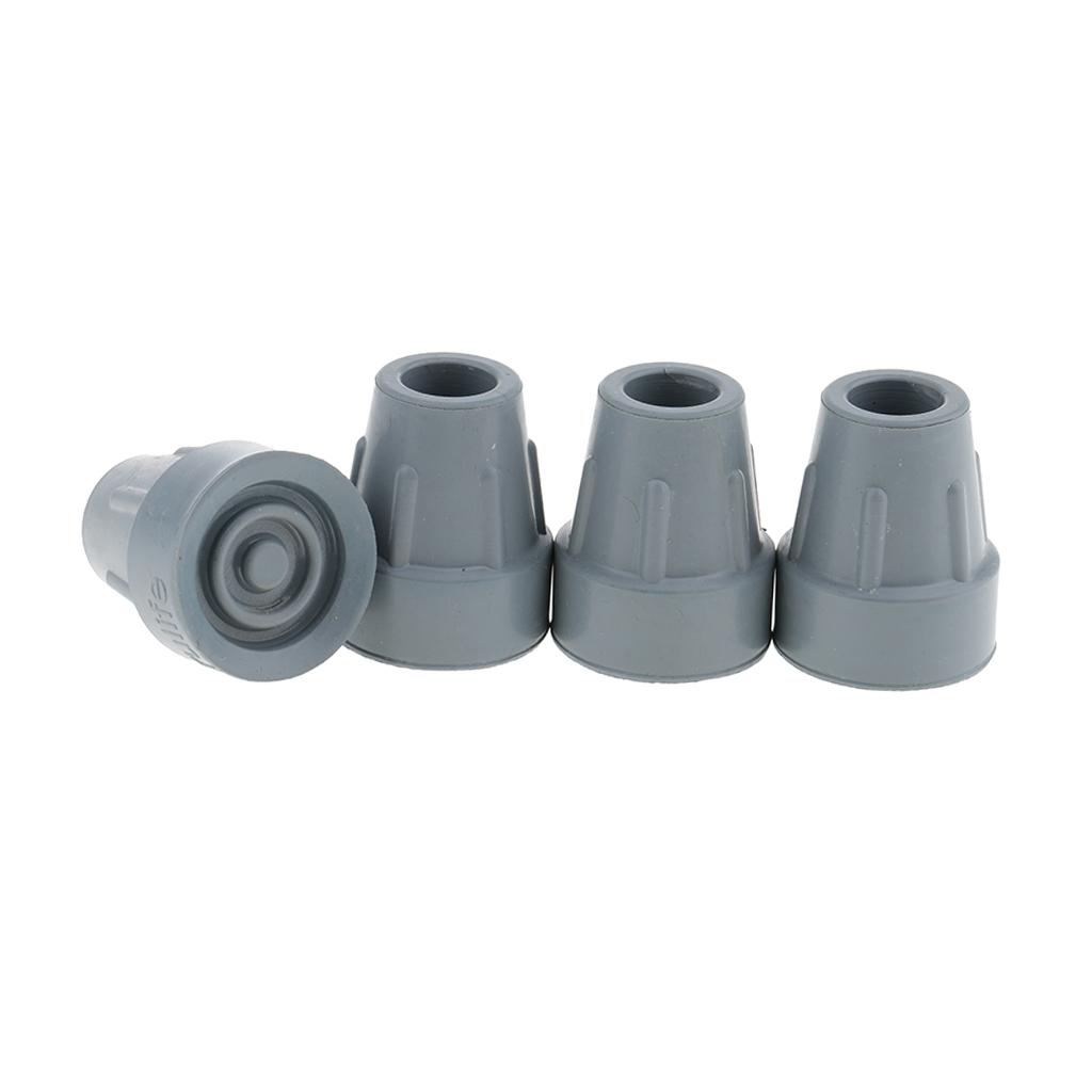4x Wear-resisting Crutch Ferrules Rubber End Walking Stick End Tip Anti Skid Crutch Tips Feet Cane Bottom Replacement Tips, 16mm