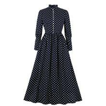 Polka-dot vestido feminino moda elegante o-pescoço cruz cinta laço plissado longo maxi vestidos outono inverno cintura alta vestidos(China)