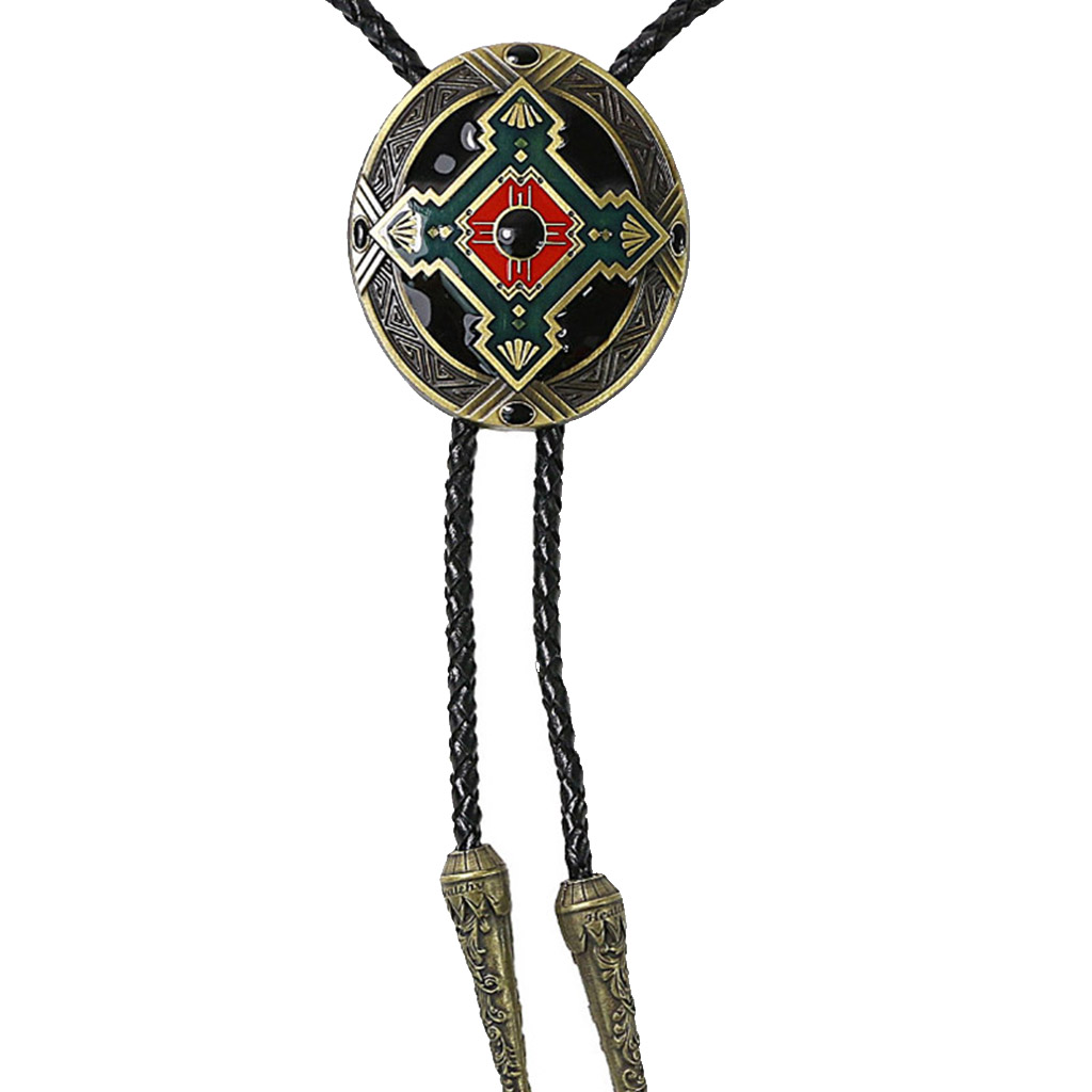 Western Bolo Tie for Men Cowboy Alloy Necktie PU Leather Braided Bolos for Women Girls