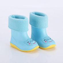 ילדי גשם מגפי פעוט תינוקות בני בנות PVC גשם מגפי חמוד Cartoon בעלי החיים דפוס עמיד למים החלקה נעלי קטיפה מגפי גשם(China)