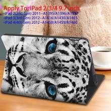 "PU Case For ipad Mini 1/2/3/4/5th 7.9"",2/3/4 5th/6th air 1/2 9.7"",iPad 7th 10.2"" 2019,Air 3,Pro 10.5/11 inch cover-Snow Leopard(China)"