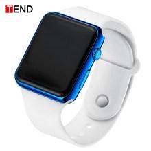 Mode hommes montre femmes décontracté sport Bracelet montres blanc LED électronique numérique bonbons couleur Silicone montre-Bracelet enfants(China)