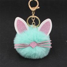 Bonito macio orelha barbas gato chaveiro falso pele de coelho pompon chaveiro saco anel chave do carro jóias acessórios(China)