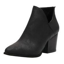 Wenyujh In Loài Rắn Nữ Da PU Cổ Chân Giày Khóa Kéo Mũi Nhọn Giày Dày Giày Cao Gót Giày Boot Nữ Giày Nữ 2020 Bootie giày(China)