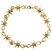 Punk Style Thorns Unisex Choker Gold Necklace Harajuku Streetwear Barbed Wire Brambles Flame Padlock Pendant Metal Jewelry(China)