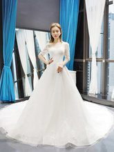 RSM66727 princesa vestidos de casamento A-line o-neck mangas meia lace boho nupcial vestido de novia vestido de casamento como branco princesa(China)