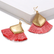 Big Circle Bohemian Tassel Earrings 2019 New V-shaped Design Female Personality Vintage Statement Drop Earrings For Women(China)
