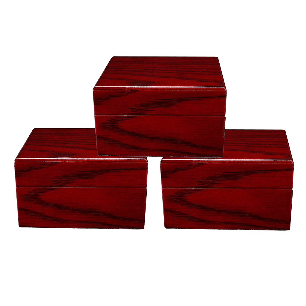 3pcs Collection Red Wooden Box Watch Display Travel Jewelry Storage Showcase