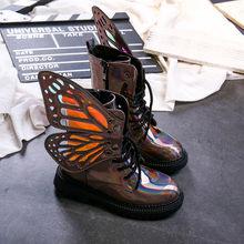 חדש סתיו ילדי מרטין מגפי תינוק בנות עור מפוצל נעלי ילדי פרפר קרסול מגפי בני שחור מותג מגפי אופנה רך נעל(China)