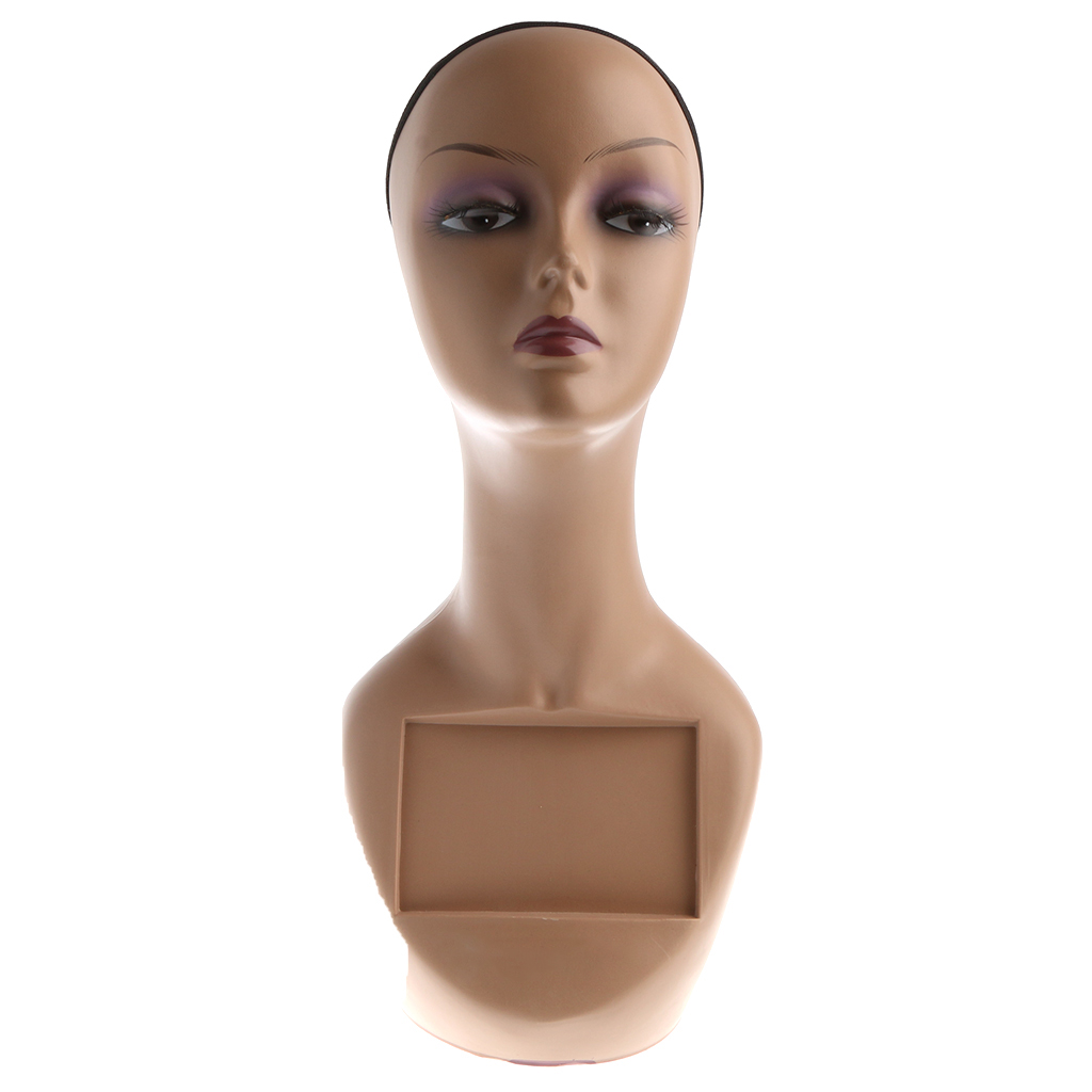 Female Mannequin Head Bust Wig Hat Jewelry Display Model Stand With Net Cap