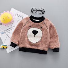 תינוק בנות בנים הלבשה עליונה חורף עבה חם מעילי מעיל חמוד קריקטורה דוב ילדים סוודר פעוט קטיפה בגדים(China)