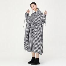 [EAM] женское черное клетчатое длинное плиссированное платье большого размера с длинными рукавами, с отворотом, свободное, модное, весна-осен...(China)