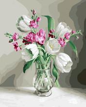 DIY Безрамное картина по номерам Цветы Ваза Картины Холст Картины Для Гостиной Домашнего декора япония(Китай)
