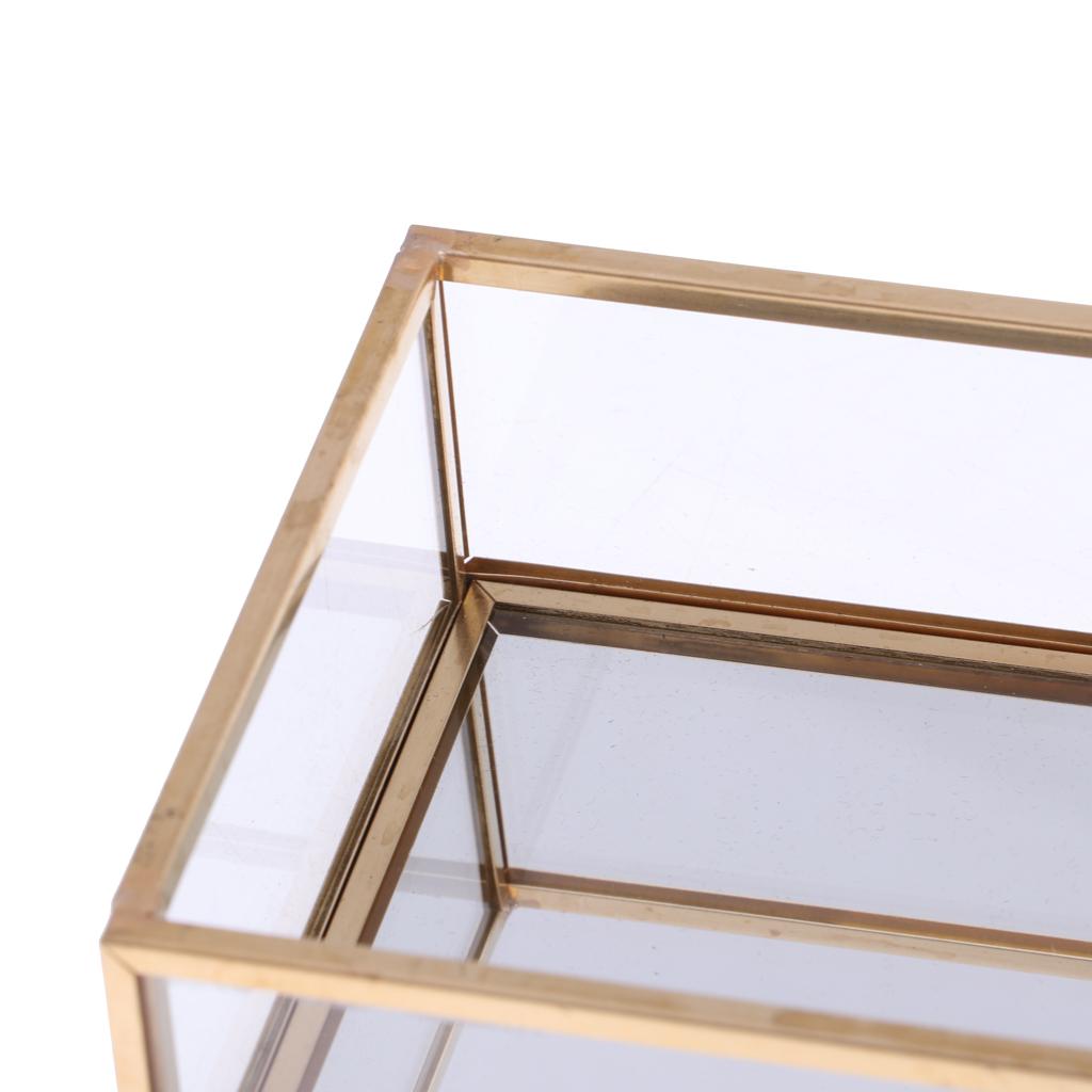 Geometric Glass Jewelry Tray Makeup Holder Organizer Terrarium Succulent Plant Planter Home Table Decor