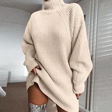 Articat 2019 осенне-зимний свитер платье, Женская водолазка с длинным рукавом Свободные трикотажные пуловеры черного Повседневное Платье для ве...(China)
