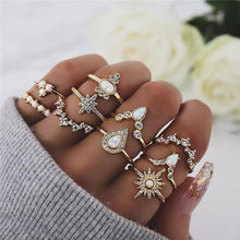 Modyle 40 סגנונות בוהמי Midi Knuckle טבעת סט לנשים קריסטל פיל כתר סהר גיאומטרי אצבע טבעות בציר תכשיטים(China)