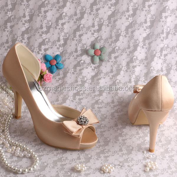 Wedopus High Heels Women Pumps Purple Wedding Shoes Peep Toe with Bowknot