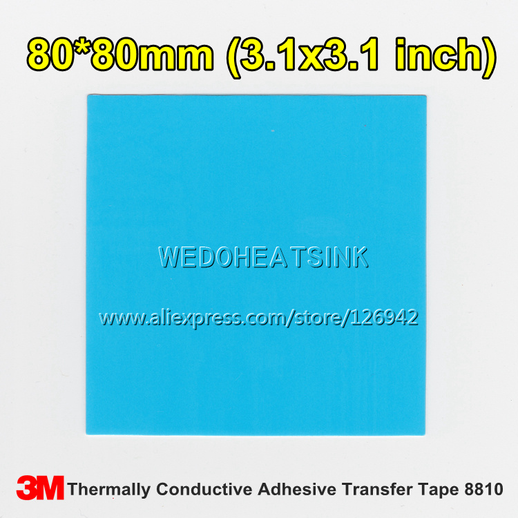 Free Shipping 2pcs 80x80mm 3M 8810 Thermally Compound Double Sided Acrylic Adhesive Blue Heatsink Cooler Pad Thermal LED Tape