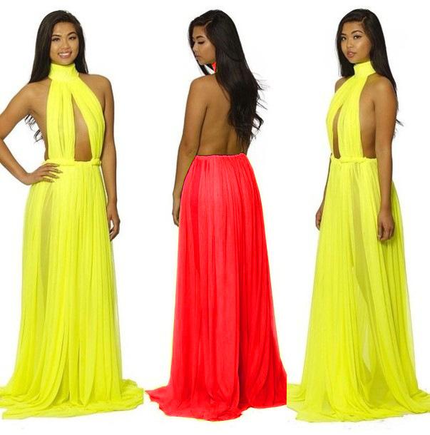 Plunging Halter Dress Club Dress Deep Plunge