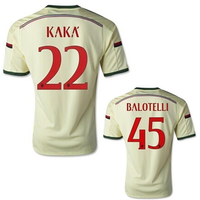 Топ Таиланд качество комплекты 15 Италия ac Милан Футбол Джерси Кака Балотелли выездная футбольная рубашка футбол Униформа с все логотипы