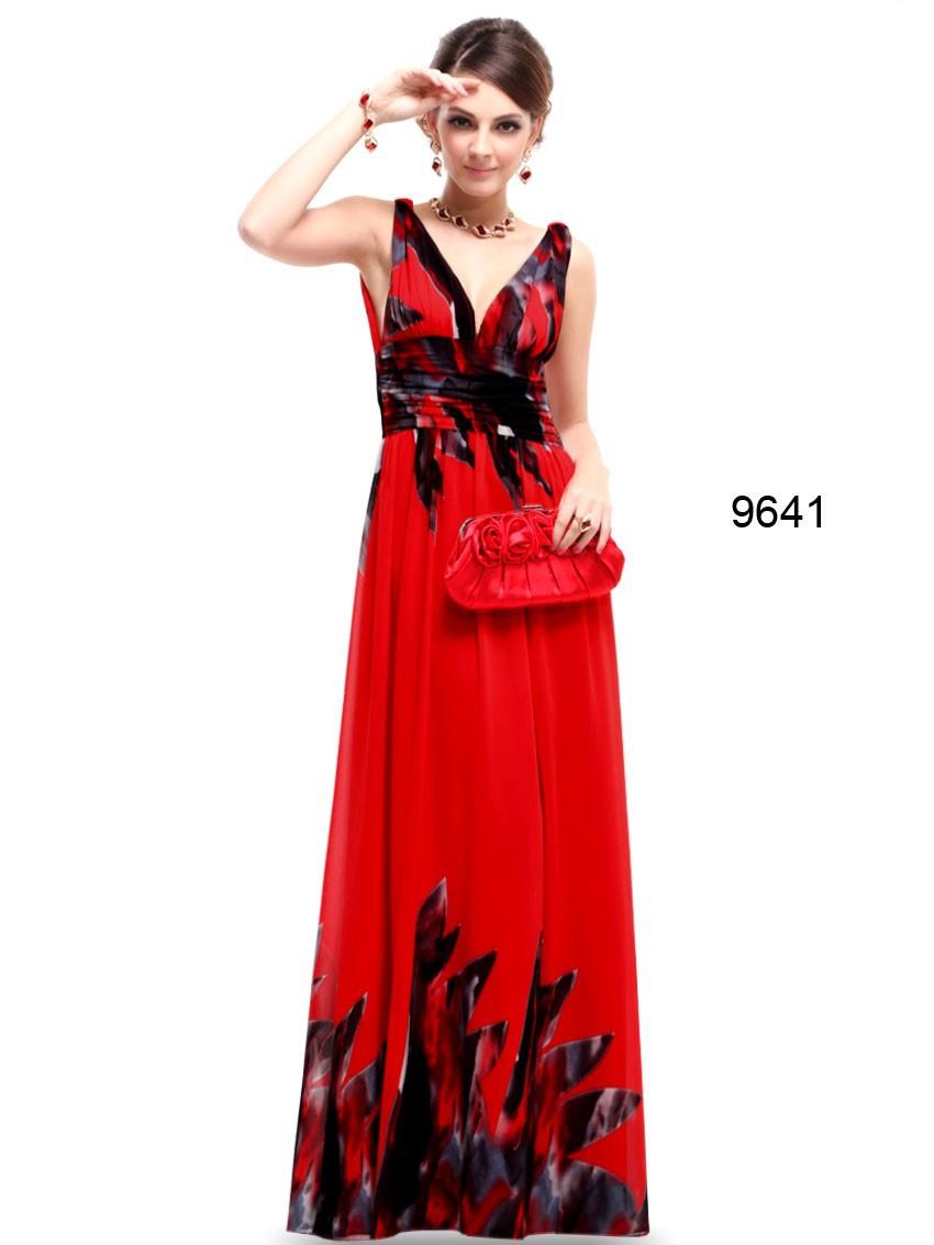 Вечерние платья HE09641 тех довольно бесплатная доставка двухместный V шеи шифон Sexy цветочный печать с длинным 2016