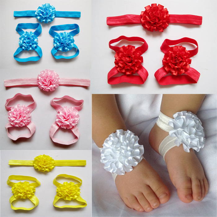 Baby Girls Barefoot Sandals Lace Foot Flower Silver Shoes Headband Coral Pink