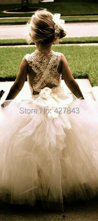 FD0053-White Ivory Lace Flower Girl Dress For Wedding Kids Princess Dress Girl Tutu Dress Wedding Custom Made