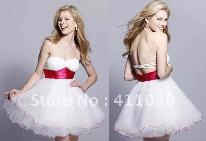 Free Shipping Custom Design White and Red Homecoming Dresses New Fashion Lady Ball Gowns Sweetheart Short/Mini Wholesale/Retail(China (Mainland))