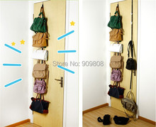 200 X Free Shipping Over Door Hat Bag Clothes Rack Holder Organizer Adjustable Straps Hanger 8 Hooks(China (Mainland))