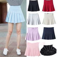 Buy 2017 Preppy Style High Waist Pleated School Girl's Skirts Summer Solid Women's Skirt Empire Waist Slim Student's Mini Skirts for $9.93 in AliExpress store