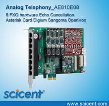 Scicent AE810E 8 FXO hardware Echo Cancellation Asterisk Card Digium Sangoma OpenVox(China (Mainland))