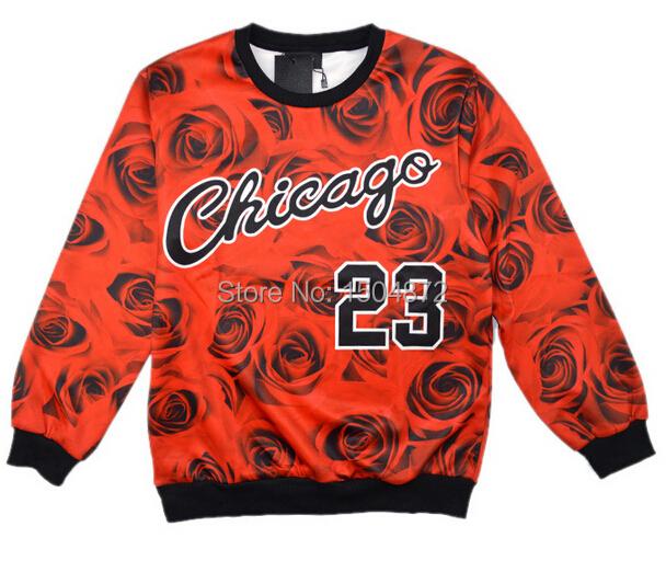 New chicago Jordan 23 letter brooklyn carter print 3d sweatshirt rose floral sportswear fashion hoodies red grey women/men sweat(China (Mainland))