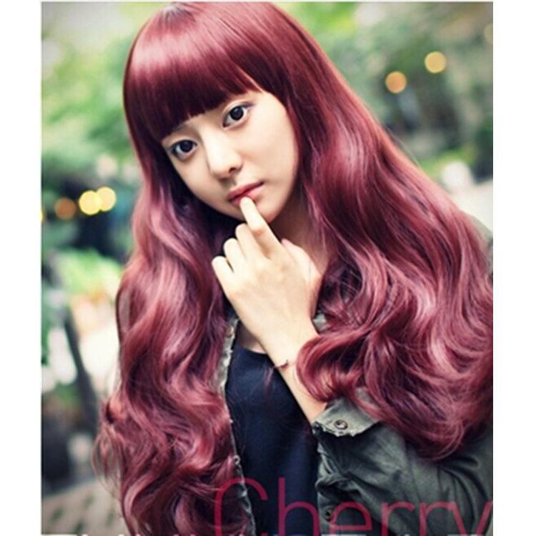 Гаджет  Korean fashion wig wine red long hair neat bang Cosplay wig headgear factory wholesale fidelity None Промышленность и бизнес