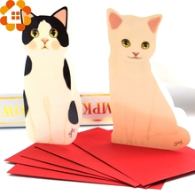 5PCS Mini Cat Folding Greeting Card&Thank You Card Birthday Christmas Cards Envelope Writing Paper Stationery For Gifts(China (Mainland))